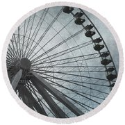 Paris Blue Ferris Wheel Round Beach Towel