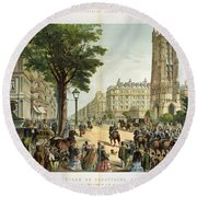 Paris Boulevard, 1859 Round Beach Towel