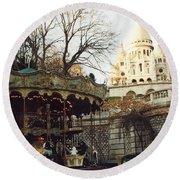 Paris Carousel Merry Go Round Montmartre - Carousel At Sacre Coeur Cathedral  Round Beach Towel