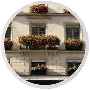 Paris Cartier Window Boxes - Paris Cartier Windows And Flower Boxes - Cartier Paris Building  Round Beach Towel