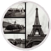 Paris Collage - Black And White Round Beach Towel
