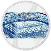 Paris Design In Blue Round Beach Towel