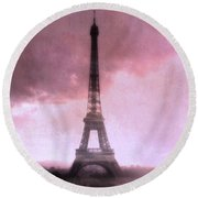 Paris Dreamy Pink Eiffel Tower Abstract Art - Romantic Eiffel Tower With Pink Clouds Round Beach Towel