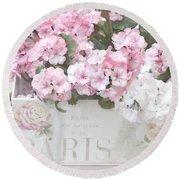 Paris Pink Flowers, Parisian Shabby Chic Paris Flower Box - Paris Floral Decor Round Beach Towel