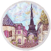 Paris Eiffel Tower Skyline Inspired Pointillist Landscape Round Beach Towel