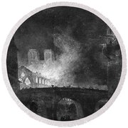 Paris, France Fire, 1773 Round Beach Towel