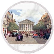 Paris France - The Rue Royal And The Madeleine - 1910 Round Beach Towel