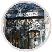 Paris Guerlain Storefront Boutique - Paris Guerlain Blue Door Art Nouveau Art Deco Door Round Beach Towel