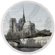 Paris History Round Beach Towel