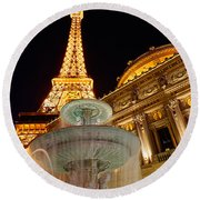Paris Hotel And Casino In Las Vegas Round Beach Towel