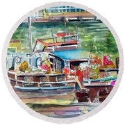 Paris House Boat Round Beach Towel