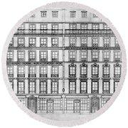 Paris Houses, 1841 Round Beach Towel