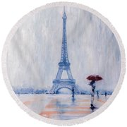 Paris In Rain Round Beach Towel