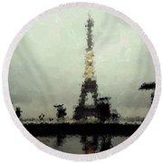 Paris In The Rain Round Beach Towel