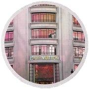 Paris Louis Vuitton Boutique Fashion Shop On The Champs Elysees Round Beach Towel