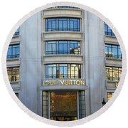 Paris Louis Vuitton Fashion Boutique - Louis Vuitton Designer Storefront In Paris Round Beach Towel