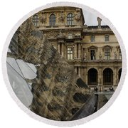 Paris - Louvre Reflecting In The Pyramid  Round Beach Towel