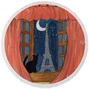 Paris Moonlight Round Beach Towel