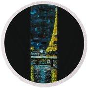 Paris Night Round Beach Towel
