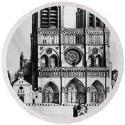 Paris Notre Dame, 1699 Round Beach Towel