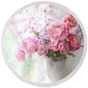 Paris Peonies Roses Shabby Chic Art - Romantic Paris Peonies And Roses Impressionistic Floral Art Round Beach Towel