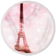 Paris Pink Eiffel Tower - Shabby Chic Paris Dreamy Pink Eiffel Tower With Hearts And Stars Round Beach Towel
