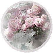 Paris Pink Impressionistic French Roses And Ranunculus - Shabby Chic Romantic Pink Flowers Round Beach Towel