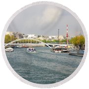 Paris River Cityscape Round Beach Towel