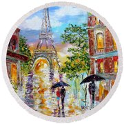 Paris Romance Round Beach Towel