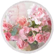 Paris Shabby Chic Dreamy Pink Peach Impressionistic Romantic Cottage Chic Paris Flower Photography Round Beach Towel