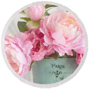 Paris Peonies Shabby Chic Dreamy Pink Peonies Romantic Cottage Chic Paris Peonies Floral Art Round Beach Towel
