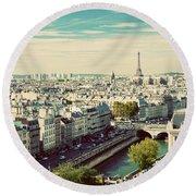 Paris Skyline France. Eiffel Tower Round Beach Towel
