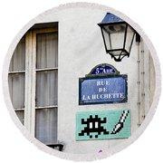 Paris Street Art - Space Invader Round Beach Towel