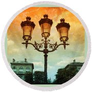 Paris Street Lamps With Textures And Colors Round Beach Towel