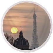 Paris Sunset I Round Beach Towel