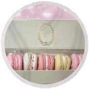 Paris Macarons Laduree Tea Shop Patisserie - Dreamy Laduree Box Of French Macarons - Paris Macarons Round Beach Towel