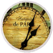 Paris Time Round Beach Towel