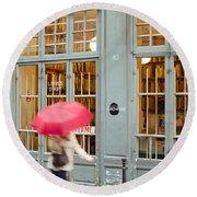 Paris Umbrella Round Beach Towel