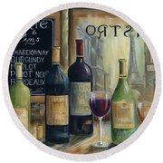 Paris Wine Tasting Round Beach Towel by Marilyn Dunlap