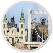 Parish Church And Elizabeth Bridge In Budapest Round Beach Towel