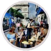 Parisian Cafe Round Beach Towel
