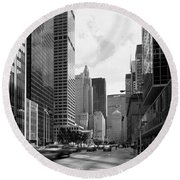 Park Avenue In New York City Round Beach Towel