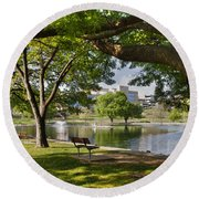 Park Bench By A Lake Round Beach Towel