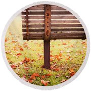 Park Bench In Autumn Round Beach Towel by Edward Fielding