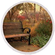 Park Bench In Autumn Round Beach Towel
