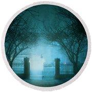 Park Gates At Night In Fog Round Beach Towel