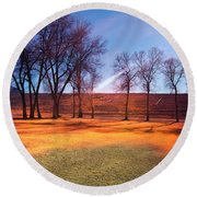 Park In Mcgill Near Ely Nv In The Evening Hours Round Beach Towel