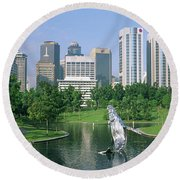 Park In The City, Petronas Twin Towers Round Beach Towel