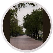 Park Leading To The King Of Thailands Palace Round Beach Towel