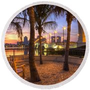 Park On The West Palm Beach Wateway Round Beach Towel